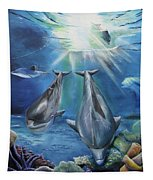 Dolphins Playing Tapestry by Thomas J Herring