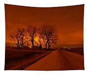 Down The Haunting Road Under The Orange Sky Tapestry