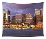 Downtown Honolulu Hawaii Dusk Skyline Tapestry