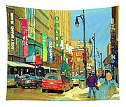 Downtown Montreal Eatons Centre Complex Les Ailes Old Navy Rue Mcgill College City Scenes  C Spandau Tapestry