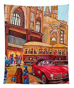 Downtown Montreal-streetcars-couple Near Red Fifties Mustang-montreal Vintage Street Scene Tapestry