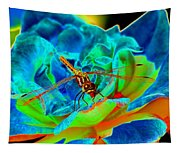 Dragonfly On A Cosmic Rose Tapestry