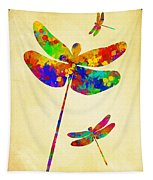 Dragonfly Watercolor Art Tapestry
