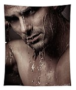 Dramatic Portrait Of Young Man Under A Shower Tapestry