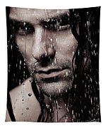 Dramatic Portrait Of Young Man Wet Face With Long Hair Tapestry