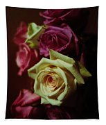 Dramatic Purple And Yellow Roses Tapestry