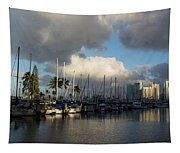 Dramatic Tropical Storm Light Over Honolulu Hawaii  Tapestry