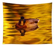 Duck On Golden Water Tapestry