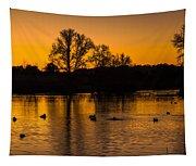 Ducks At Sunrise On Golden Lake Nature Fine Photography Print  Tapestry