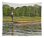 Dugout Canoe In The Rapti River In Chitin National Park-nepal Tapestry