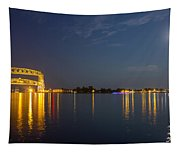 Duluth Harbor At Night Tapestry