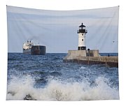 Duluth N Pierhead And Ship 1 Tapestry