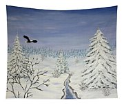 Eagle On Winter Lanscape Tapestry