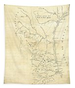 Early Hand-drawn Southern Texas Map C. 1795 Tapestry