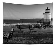 Early Morning At Bug Lighthouse Bw Tapestry