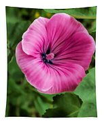 Early Summer Blooms Impressions - Bright Pink Malva - Vertical View Tapestry