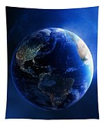 Earth And Galaxy With City Lights Tapestry
