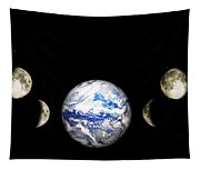 Earth And Phases Of The Moon Tapestry