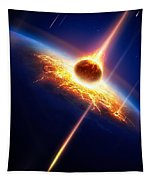 Earth In A  Meteor Shower Tapestry