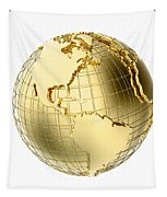 Earth In Gold Metal Isolated On White Tapestry