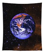 Earth In Space With Gaseous Nebula And Tapestry