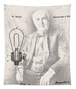 Edison And Electric Lamp Patent Tapestry