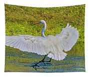 Egret Full Wing Span Tapestry