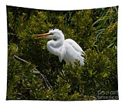 Egret In Bushes Tapestry