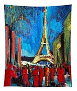 Eiffel Tower And The Red Visitors Tapestry