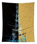 Eiffel Tower In Blue Abstract Tapestry