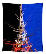 Eiffel Tower In Red On Blue  Abstract  Tapestry