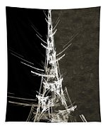 Eiffel Tower In White Bw 2 Abstract Tapestry