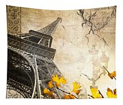 Eiffel Tower Vintage Collage Tapestry