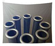 Eight Metallic Tubes Tapestry