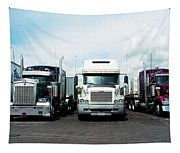 Eighteen Wheeler Vehicles On The Road Tapestry