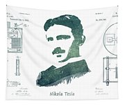 Electric Arc Lamp Patent Art Nikola Tesla Tapestry