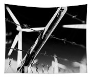 Electric Fence Black And White Tapestry