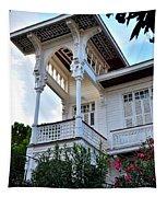 Elegant White House And Balcony Tapestry