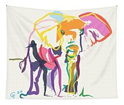 Elephant In Color Ecru Tapestry