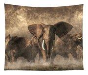 Elephant Stampede Tapestry