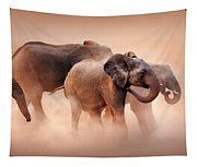 Elephants In Dust Tapestry