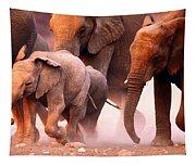 Elephants Stampede Tapestry