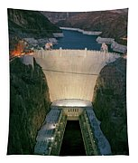 Elevated View At Dusk Of Hoover Dam Tapestry