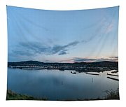 Elevated View Of A Harbor At Sunset Tapestry