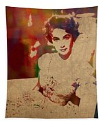 Elizabeth Taylor Watercolor Portrait On Worn Distressed Canvas Tapestry by Design Turnpike