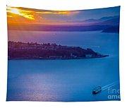Elliott Bay Sunset Tapestry