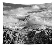 Embraced By Clouds Black And White Tapestry