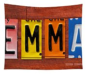 Emma License Plate Name Sign Fun Kid Room Decor Tapestry