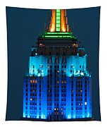 Empire State Building Lit Up At Night Tapestry
