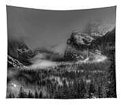 Enchanted Valley In Black And White Tapestry